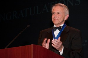 William C. Noland recipient, Abingdon architect Peyton Boyd, applauds his fellow honorees at Visions for Architecture.