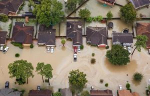 A neighborhood sits in floodwater after Hurricane Harvey hit Houston in August 2017.