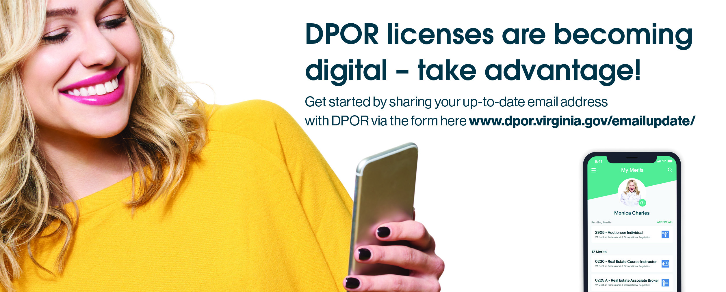 DPOR and Merit are partnering to offer digital licenses.